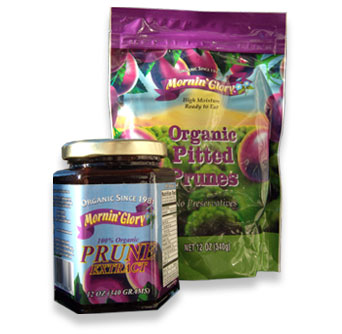 Organic Pitted Prunes moist pack bag and Jar of Prune Extract